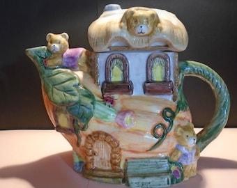 Pumpkin House Teddy Bear Teapot ...