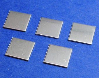 "Twenty - Five Small Aluminum 1/2"" Square Blanks - 1100 Soft Temper 18g Aluminum Pendant- Finished Stamping Blanks"