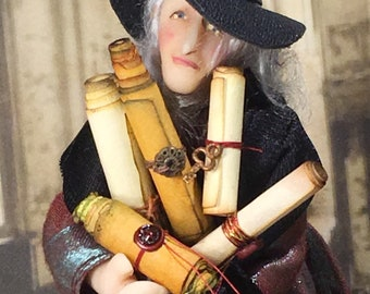 Scrolls, Aged, 7, Dollhouse, Miniature, Wizard, Witch, Spooky, Medieval, Mystical, Study, Dead, Sea, Old, 1:12 scale,