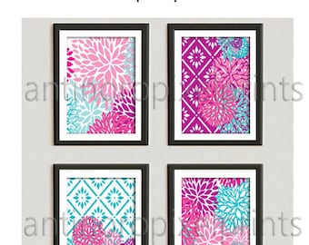 Flowers Pinks Aqua Turquoise Art Wall Gallery Print  -Set of (4) 8x10  Prints  (UNFRAMED) #247681640