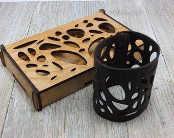 Laser cut Leather Bracelet 1 + BOX