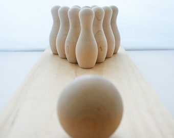 10- Unfinished Wooden Bowling Pins- Various Sizes of Pins To Choose From, Wooden Toys Bowling, Table Top Bowling, Pretend Play,Bowling Game