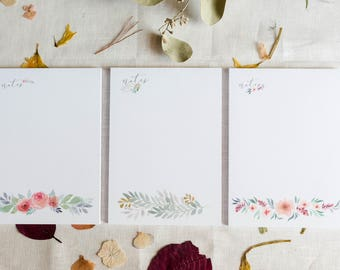 Floral Watercolor Notepads- Pack of 3