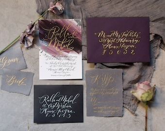 Custom Hand-Painted Wedding Invitation Suite with Hand-Lettered Calligraphy // Eggplant // Plum // Metallics
