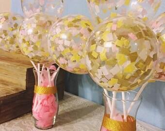 Mini confetti filled balloon bouquet, balloon centerpiece, confetti balloons