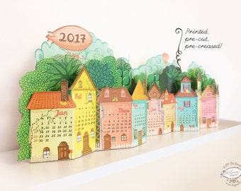 2017 Physical Calendar | 3D Landscape Desk Calendar made of Pre-cut, Pre-printed Paper | Quick DIY Papercraft NO GLUE | Desk Shelf Calender