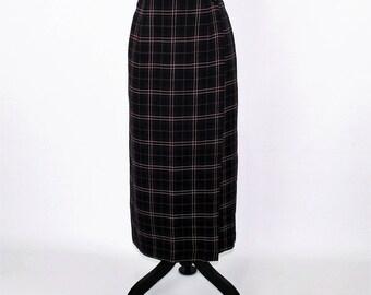 Navy Blue Plaid Skirt Women Large Long Wrap Skirt Wool Winter Skirt Tartan Vintage Skirts Size 12 Skirt Vintage Clothing Womens Clothing