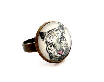 ring 18mm cabochon White Tiger