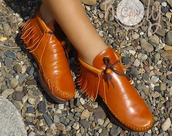 Orange Moccasins, Moccasin Boots, Womens Moccasins, Leather Moccasins, Orange Leather Boots, Mens Moccasins, Womens Boots, Orange Boots