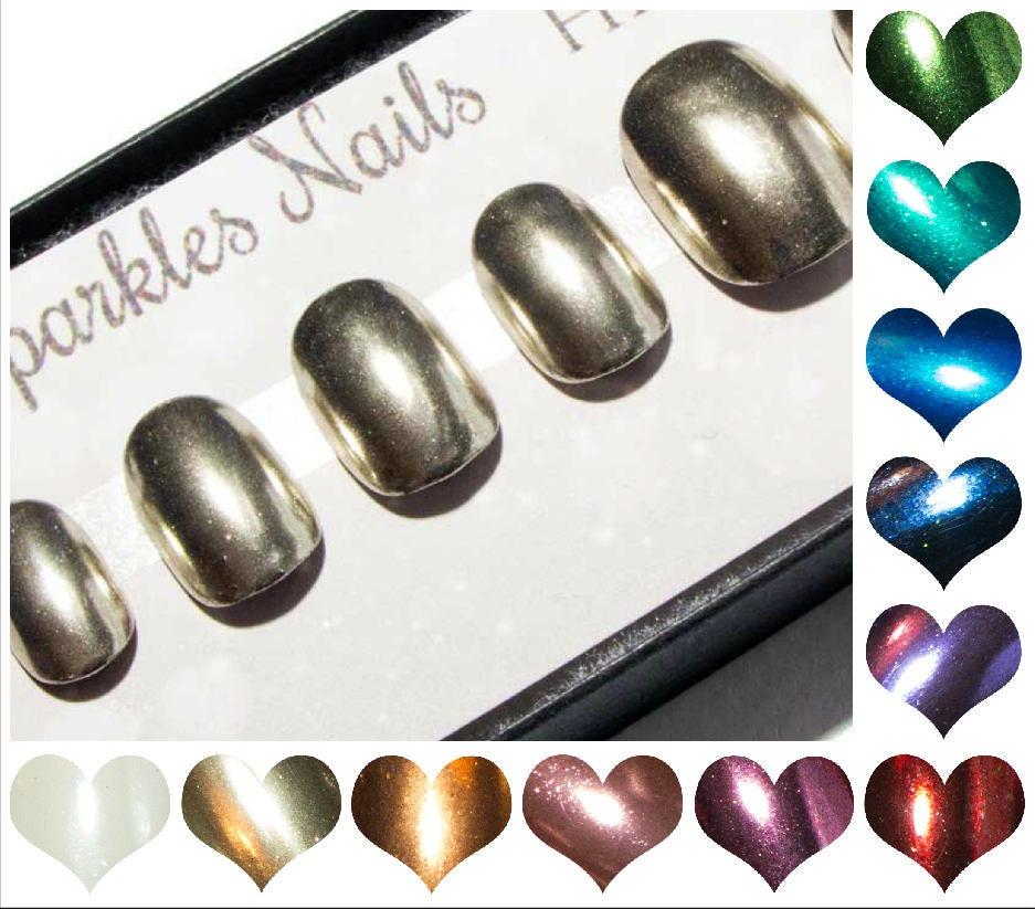 Short Chrome Nails - Press On Metallic Nails - Any Colour Mirror ...