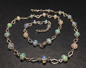 Genuine Opal Gemstone Necklace - Sterling Silver - 18 inch - Colorful Fire Welo Opal - October Birthstone - Wedding Bride One of a Kind