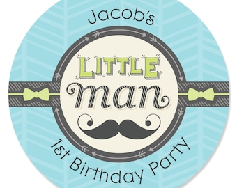 24 Custom Dashing Little Man Mustache Party Circle Stickers - Personalized Birthday Party Supplies
