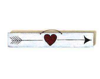 Tribal Arrow Wood Heart Sign / Bohemian Decor / Bohemian Wall Decor / Gypsy Decor / Tribal Decor / Wall Art / Love Heart Sign