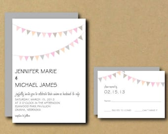 Printable Custom DIY Wedding Invitation - Bunting