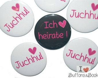 10x Hochzeitsbuttons Junggesellinnenabschied Herz Liebe pink weiß schwarz Junggesellinnenabschied Junggesellenabschied
