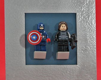 Captain America and Winter Soldier Minifigures with Custom Display Frame