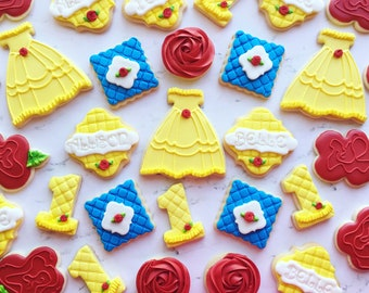princess cookies/ yellow dress/cookies/sugarcookies/princess/fairytale /custom cookies/princess dress