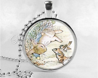RABBIT Necklace, Rabbit Pendant, Rabbit Jewelry, Rabbit Charm, Glass Photo Art Jewelry