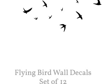 Bird Wall Decal,  Flying Birds Wall Decal, Set of 12, Swallow Wall Decals, Vinyl Art Birds, Removable Flying Bird Decals, Wall Art Birds