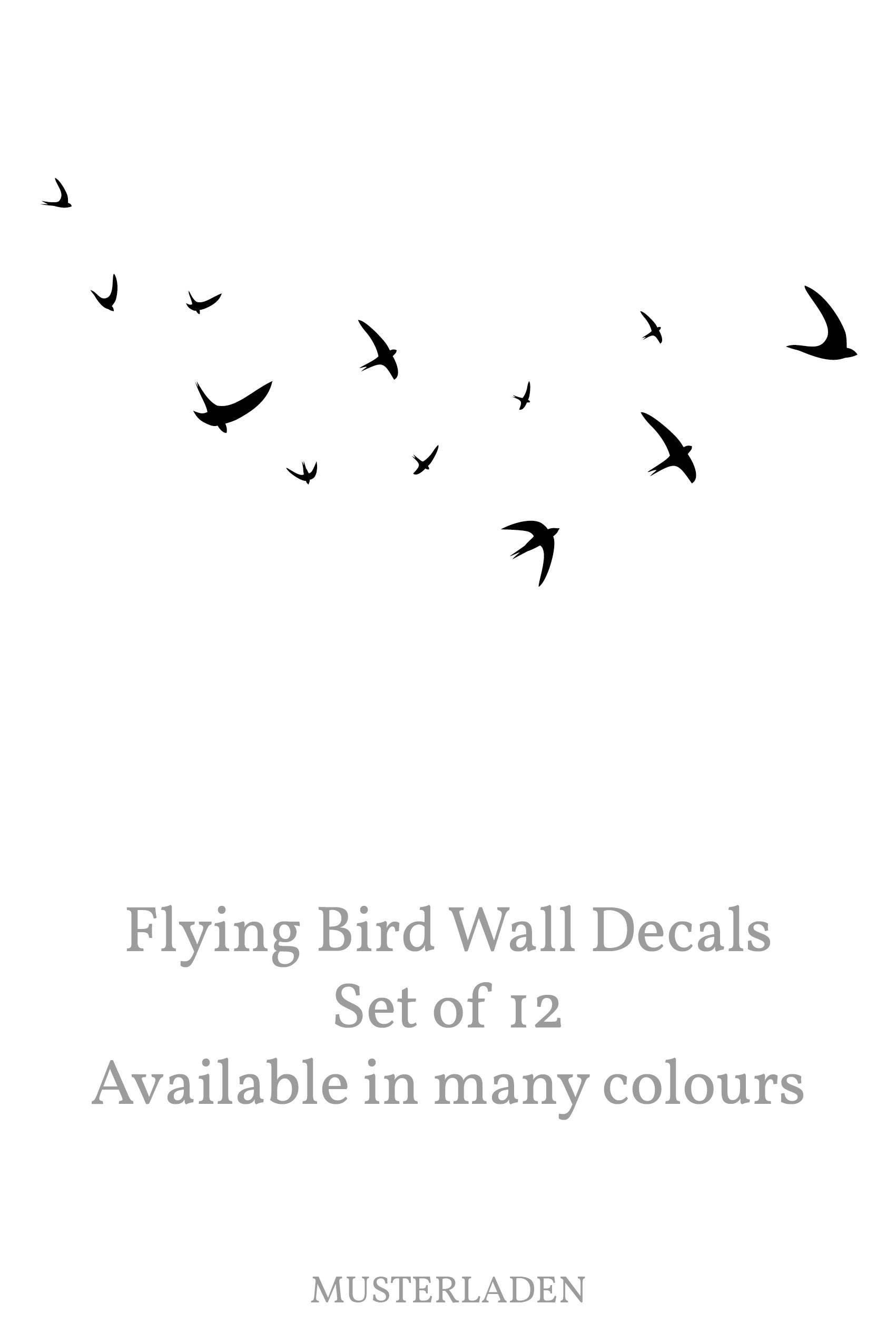 Bird wall decal flying birds wall decal set of 12 swallow zoom jeuxipadfo Gallery