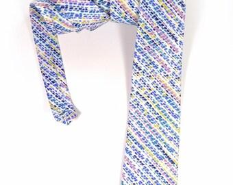Wedding Mens tie,  blue yellow  and pink stripe necktie