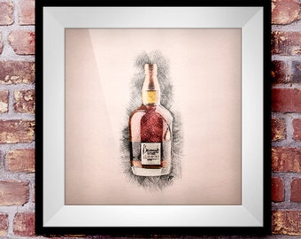 Benromach 35 - Crosshatch Whisky Wall Art