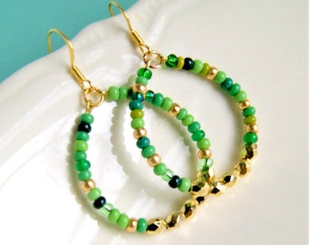 green hoop earrings, dangle drop, gold hoops, gift for her, gift for mom, boho jewelry, colorful earrings