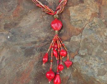 Red & Gold Multi Strand Tassel Necklace
