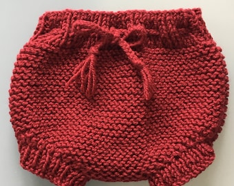 3/6 months Burgundy wool baby bloomers
