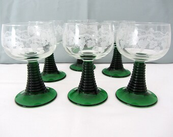 Vintage Green And Clear Cordial, Aperitif, or Liqueur Stemmed Glasses. Set Of Six