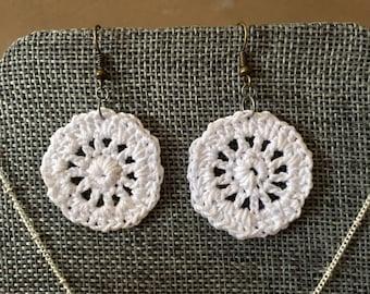 Crochet Circle Earrings / Crochet Drop Earrings / Wagon Wheel Earrings / Handmade Earrings / Handmade Jewelry / Fashion Jewelry / Gifts