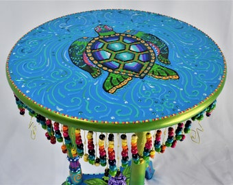 Small Beautifully Hand Painted Sea Turtle Table with Beaded Trim