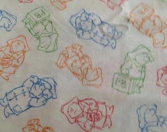 Paddington Bear Silhouette cotton fabric by Quilting Treasures - White background 2007 OOP print