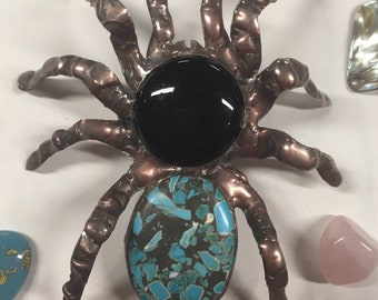 Mosaic Turquoise and Black Glass Tarantula Spider Sculpture Bug Insect