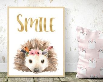 Woodland nursery, hedgehog gift, baby wall art, nursery animals, animal prints, woodland animals, Wall art, Cute hedgehog, nursery wall art