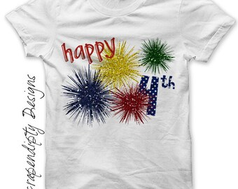Fourth of July Iron on Shirt - Fireworks Iron on Transfer / Toddler 4th of July Shirt / Kids Girls Summer Tshirt / Glitter Fireworks IT209
