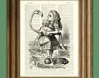 Croquet with flamingo and hedgehog Alice in Wonderland beautifully upcycled vintage dictionary page book art print