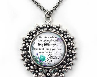 Loss of Baby Memorial Necklace - Miscarriage Poem Jewelry - 19 Designs Available in Flower Pendant - Infant Loss Grieving Necklace