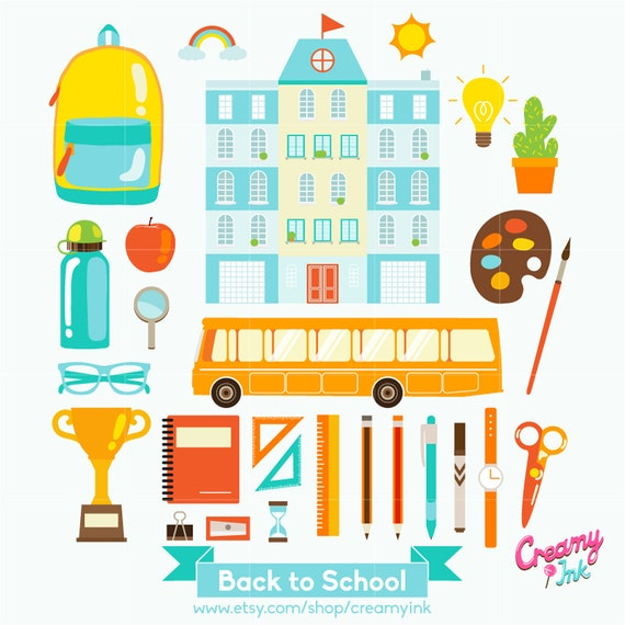 back to school digital vector clip art school days clipart rh etsy com school photo day clipart first school day clipart