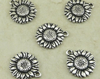5 TierraCast Sunflower Flower Charms > Garden Floral Summer Happy - Silver-plated Lead Free Pewter - I ship Internationally 2034