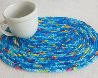 Coiled Rope Mat / Wrapped fabric Placemat / Hot Pad / Trivet / Under the Sea Oval Coiled Mat by PrairieThreads