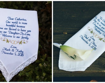 Daughter and Son Wedding Gift Daughter In law Gift and Son In Law Gift Custom Embroidered Wedding Handkerchief By Canyon Embroidery