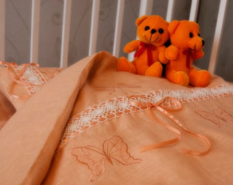 Linen  Bedding Set 3 pcs, Baby Bed Linen Set, Nursery Bedding Set, HANDMADE, Orange, Embroidered with Lace and Bands