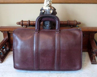 Dads Grads Sale Coach Attache In Beautiful Burgundy Leather- Made In The New York Factory- U.S.A. - Very Nice