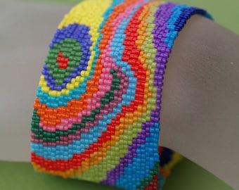 Bois Peint ... Beadwoven Bracelet . Peyote . Cuff . Wide . Wild . Wood Grain . Psychedelic . Painted Wood . Multicolor . Rainbow