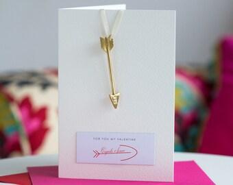 Cupid's Arrow Card, Valentine's Card, Card with Cupid's Arrow, Personalised Card, A6 Card (S5F1)