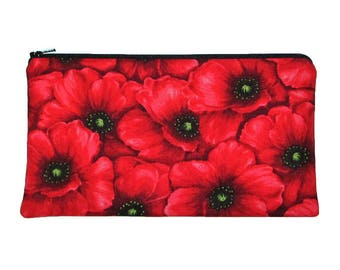 Red Poppy Flowers Zipper Pouch Pencil Case Clutch Purse