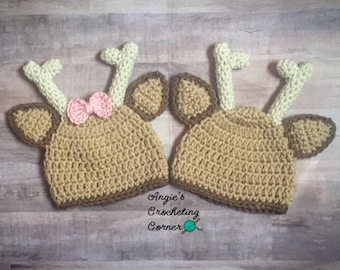 Crochet Deer Hat, Newborn Deer Hat, Baby Girl and Boy Deer Photo Prop, Baby Deer Beanie, Deer Baby Shower Gift