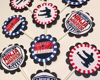 30 American Ninja Warrior Birthday Dimensional Cupcake Toppers *Ready to Ship*