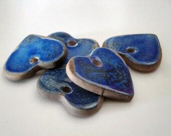 Heart in ceramic fact-hand : cobalt blue, raku